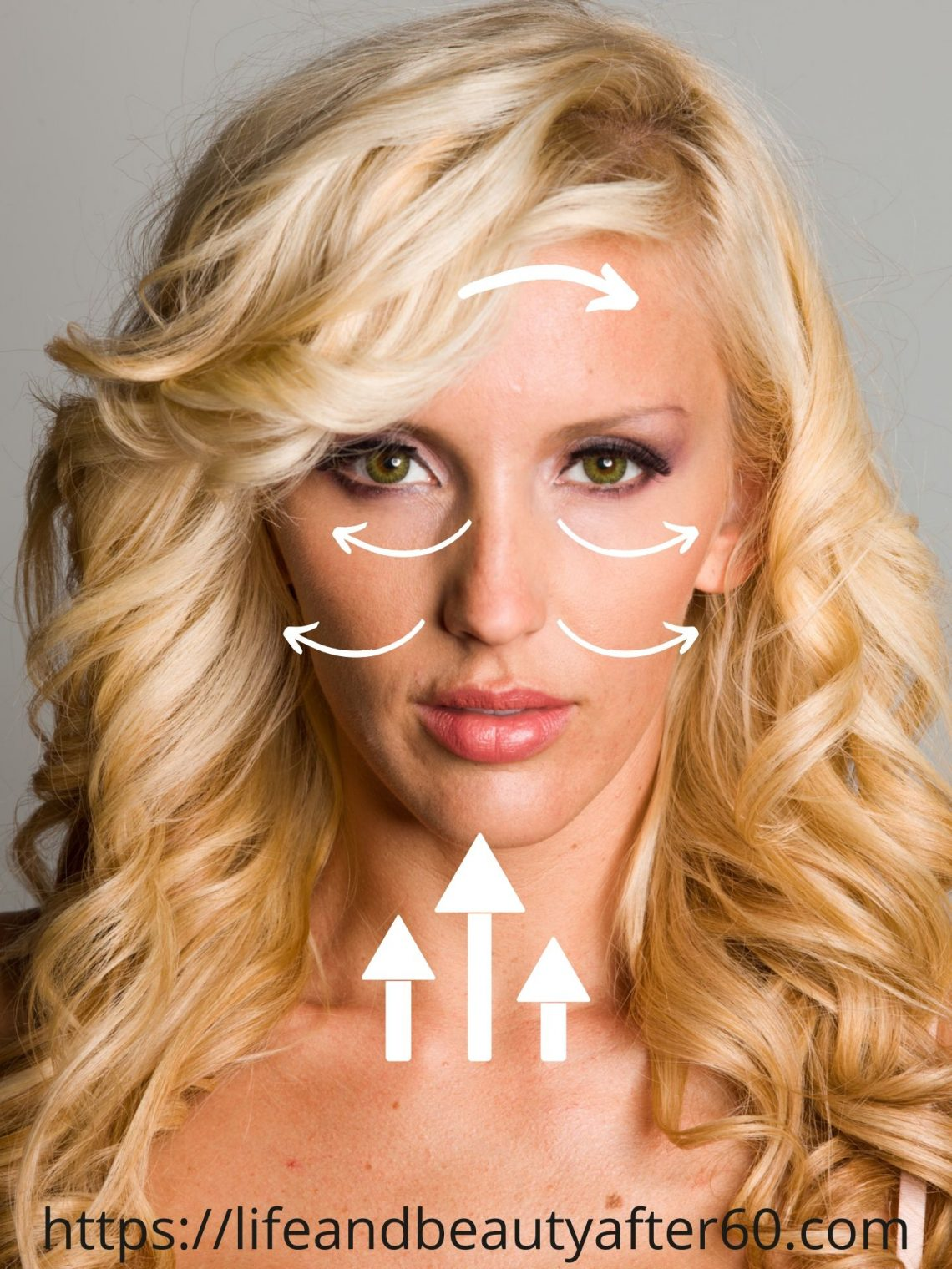 Lady with direction arrows on her face to show how to use a quartz facial roller for rejevenation.
