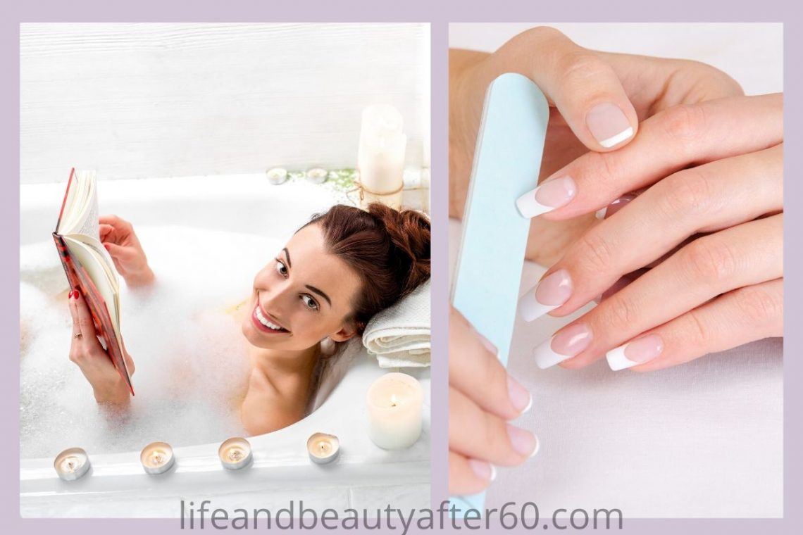 Lady Taking Bath and having manicure at salon