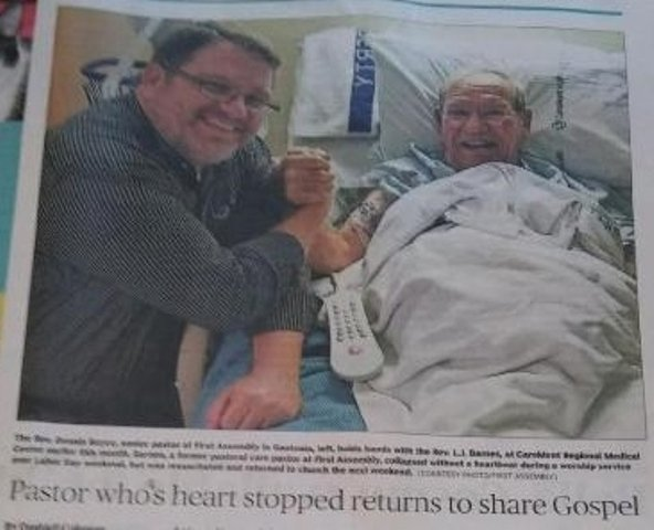 Newspaper article about Pastor who's heart stopped.